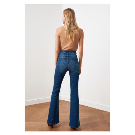 Trendyol Navy Blue High Waist Flare Jeans