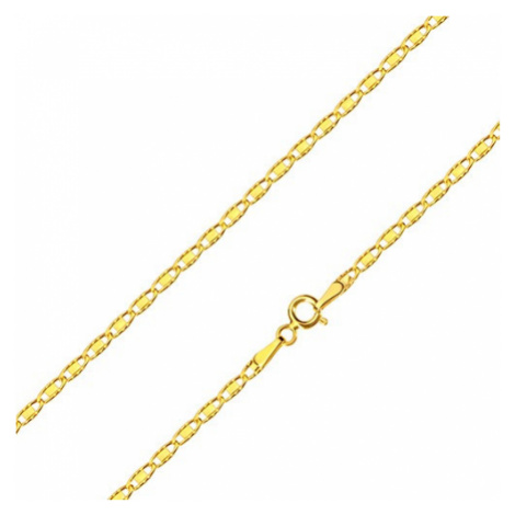 Řetízek ze 14K žlutého zlata - oválná očka s obdélníkem a zářezy, 500 mm Šperky eshop