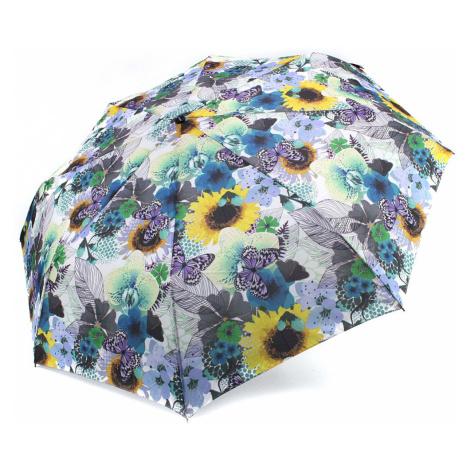 Modrý plně automatický skládací dámský deštník s květy Jimena Doppler