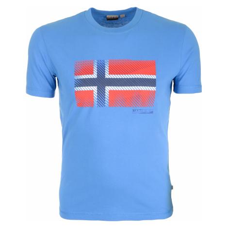 Pánské světle modré tričko Napapijri s velkou vlajkou