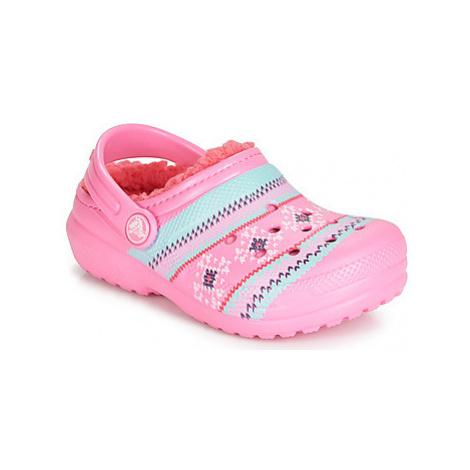 Crocs CLASSIC PRINTED LINED CLOG K Růžová