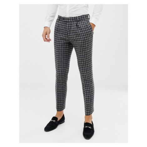 ASOS DESIGN slim suit trousers in 100% wool Harris Tweed in monochrome-Black