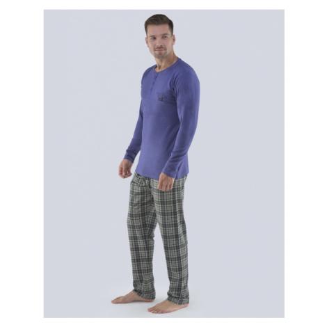 GINA Pánské pyžamo dlouhé 79071-MGMMxC šedomodrá-černá