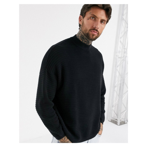 Bershka ribbed jumper with high neck in black