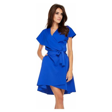 Elegantní zavinovací šaty obálkové s páskem v pase