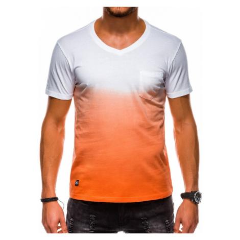 Ombre Clothing Moderní oranžové bavlněné tričko s1036