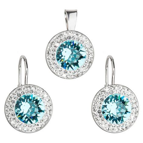 Evolution Group sada s krystaly Swarovski náušnice a přívěšek modré kulaté 39107.3 turquoise