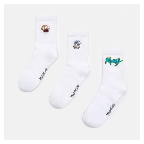 Cropp - Sada 3 párů ponožek Rick and Morty - Bílá