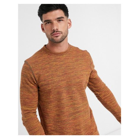 Selected Homme space dye jumper in organic cotton orange