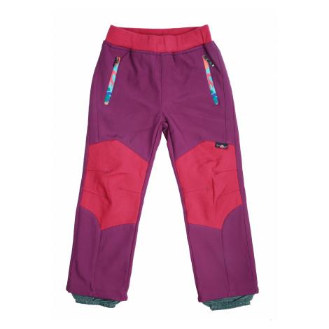 Dívčí softshellové kalhoty, zateplené - Wolf B2091, fialovorůžová