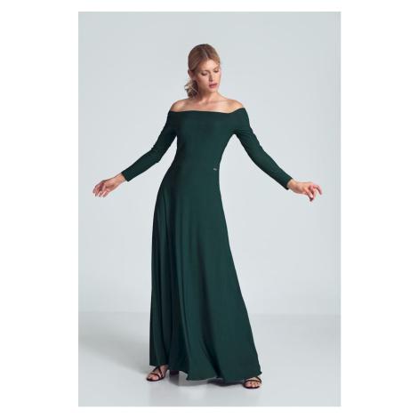 Elegantní dlouhé šaty společenské maxi šaty s odhalenými rameny