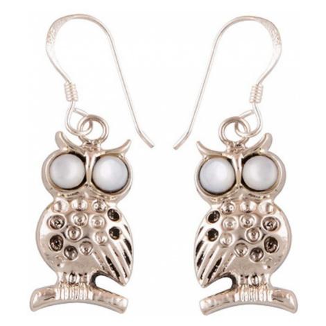 AutorskeSperky.com - Stříbrné naušnice sova s perletí - S1508