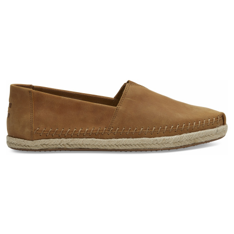 Tan Full Grain Leather Ro Men Alpargata Toms