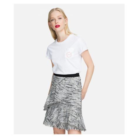 Sukně Karl Lagerfeld Boucle Skirt W/Ruffles - Šedá