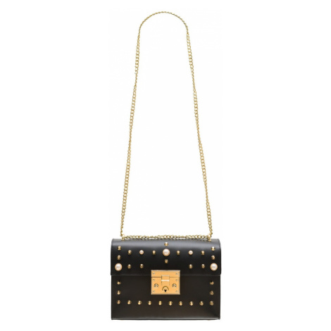 Dámská kožená crossbody kabelky s perličkami - černá Glamorous