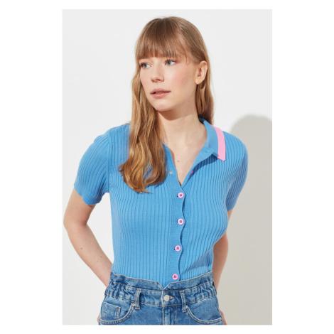 Trendyol Blue Polo Collar Knitwear Cardigan