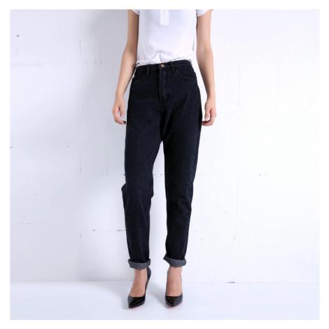 Módní dámské džíny modré denim černé kalhoty s vysokým pásem