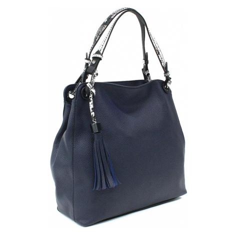 Tmavě modrá dámská kabelka do ruky a přes rameno Alleffra Mahel