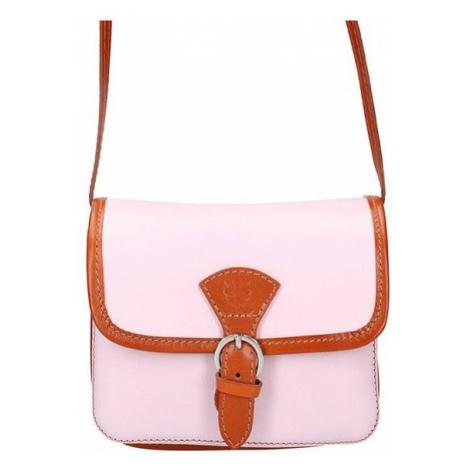 Kožená malá dámská crossbody kabelka růžová GREGORIO
