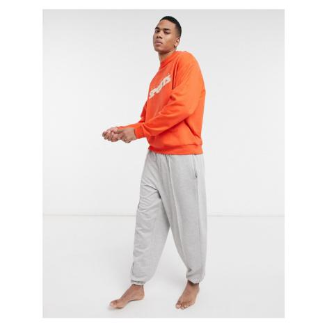 ASOS DESIGN Two Mile lounge sweat and joggers pyjama set-Red