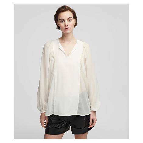 Košile Karl Lagerfeld Silk Blouse W/ Gathering - Bílá