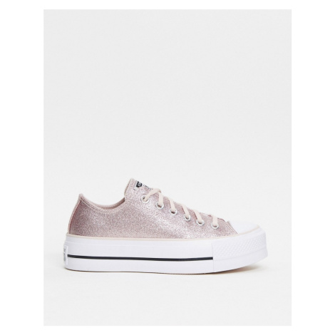 Converse Chuck Taylor All Star platform low trainers in pink glitter