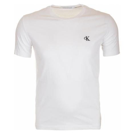 Pánské bílé tričko s malým vyšitým logem Calvin Klein