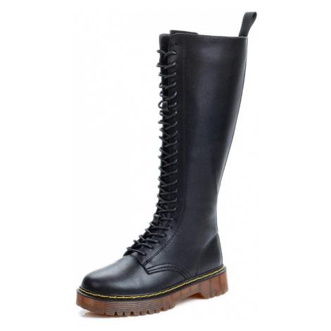 Kožené kozačky šněrovací vysoké boty na klínovém podpatku