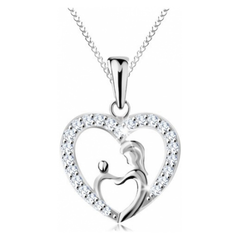 Náhrdelník ze stříbra 925, řetízek a přívěsek - matka s děťátkem v obrysu srdce Šperky eshop
