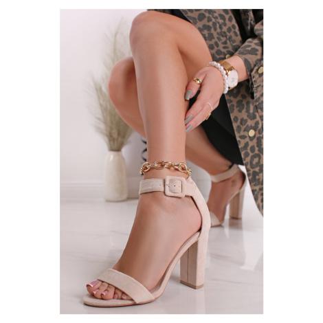 Béžové sandály na hrubém podpatku Eleanora Bestelle