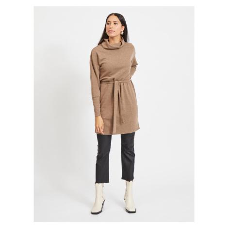 Hnědé svetrové šaty s rolákem .OBJECT-Luna