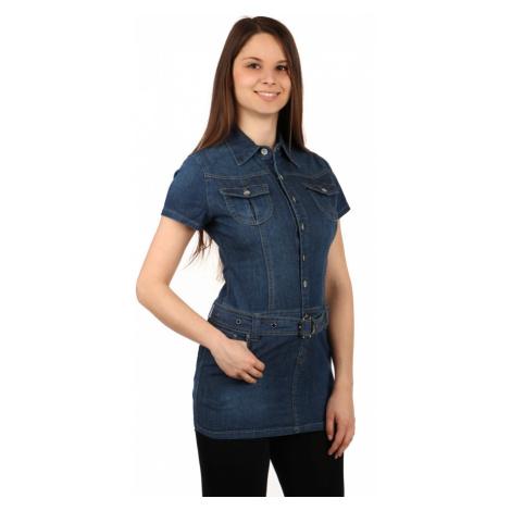 Dámské džínové propínací šaty s krátkým rukávem