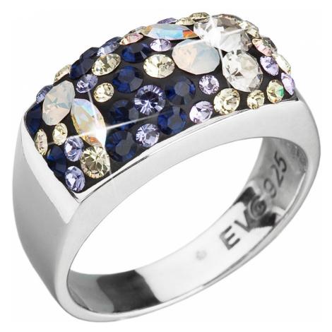 Evolution Group Stříbrný prsten s krystaly Swarovski mix barev fialová 35014.3