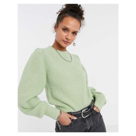 Monki Qamelia knitted jumper with volume sleeve in dusty green