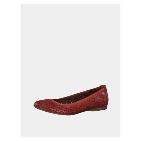 Tamaris červené kožené baleríny
