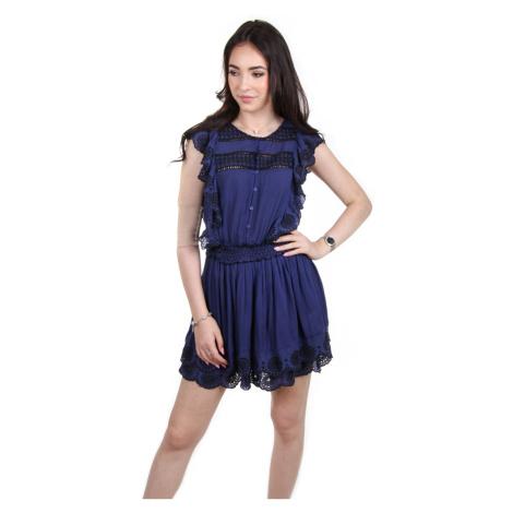 Pepe Jeans dámské modré šaty s volánky Yelina
