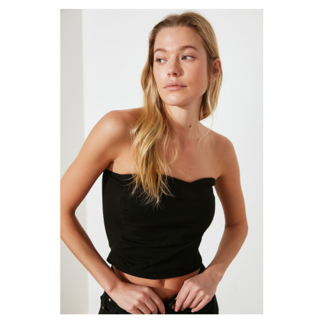 Trendyol Black Gathered Crop Knitted Blouse