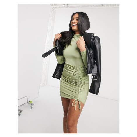 Femme Luxe long sleeve ruched detail mini dress in pistachio-Green