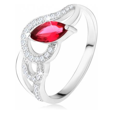 Stříbrný 925 prsten, zirkonové a hladké vlny, červený zrníčkovitý kámen Šperky eshop