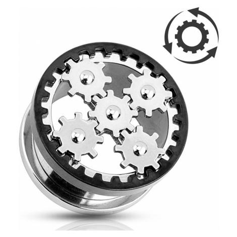 Tunel do ucha, ocel 316L stříbrné barvy, točící se ozubená kolečka - Tloušťka : 25 mm Šperky eshop