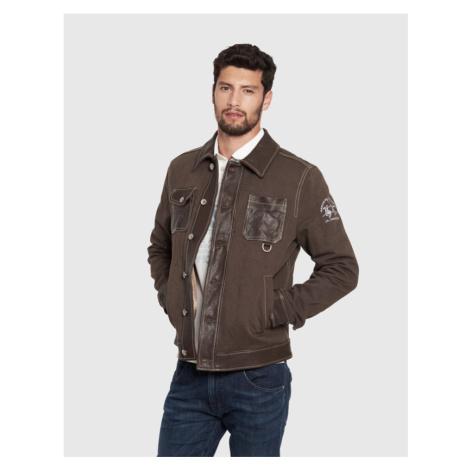 Bunda La Martina Man Jacket Leather Cotton Dril - Hnědá
