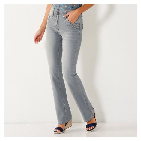 Blancheporte Strečové bootcut džíny v opraném vzhledu šedá