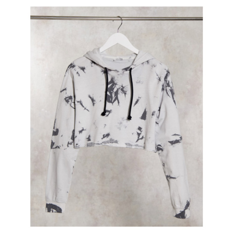 Noisy May cropped tie-dye co-ord hoodie in multi-Black