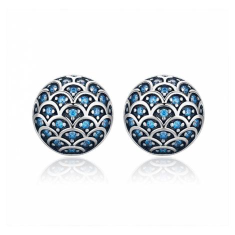 Linda's Jewelry Stříbrné náušnice Pecky Blue Scales Ag 925/1000 IN155