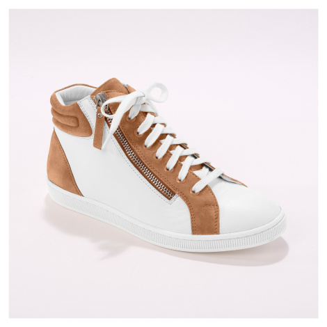 Blancheporte Kotníkové tenisky, kůže a kožená useň, bílé/béžové bílá/béžová