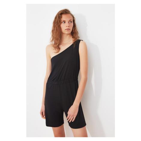 Trendyol Black One Shoulder Knitted Jumpsuit