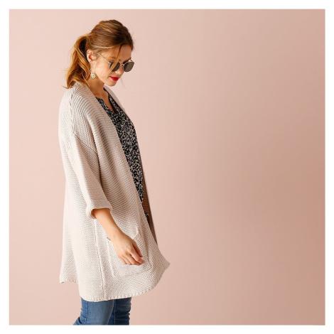 Blancheporte Volný svetr z jemného úpletu béžová