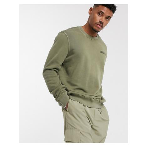 Bershka sweatshirt with chest slogan in khaki-Green