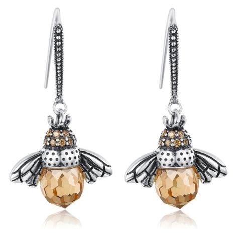 Linda's Jewelry Stříbrné náušnice Včelí Královna Visací IN200