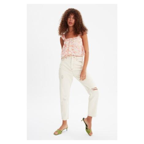 Trendyol Ecru Ripped Detailed High Waist Mom Jeans
